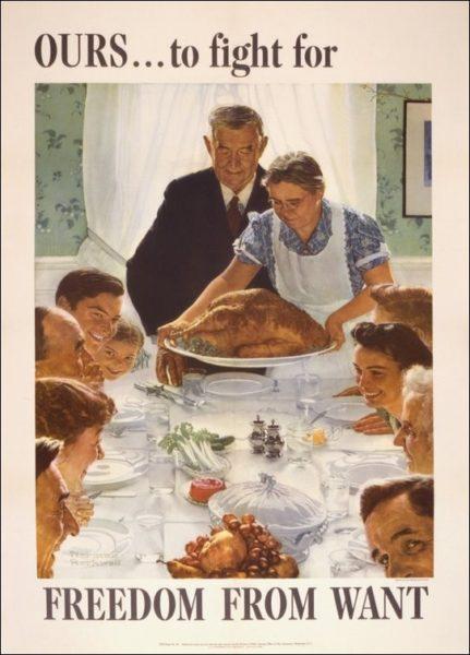 Peinture de Norman Rockwell, Freedom from Want, illustrant le développement de la société de consommation