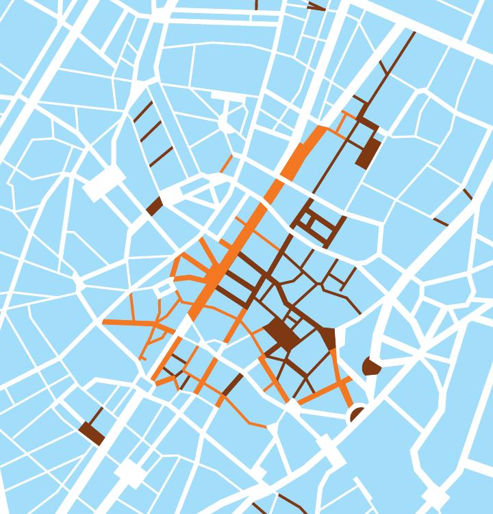 la zone piétonne centrale de Bruxelles