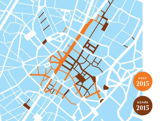 De centrale voetgangerszone in de stad Brussel