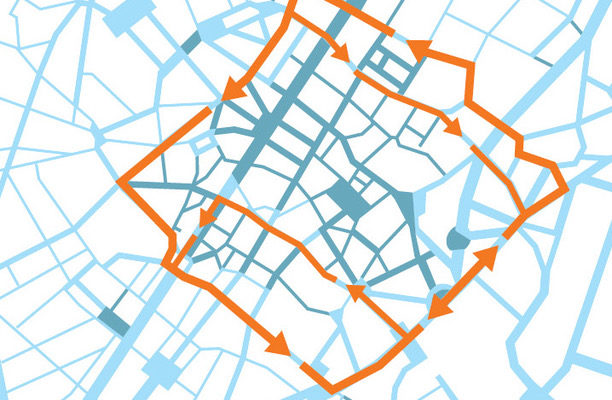 De verbindingslus rondom de voetgangerszone